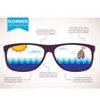 summer infographics sunglasses with ocean view vector image vector image
