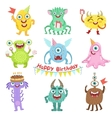 Sweet Monsters Happy With Birthday Party Objects vector image vector image