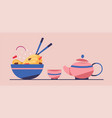 tasty wok chinese cuisine flat vector image vector image