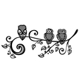 Three Owls on Ornate Branch vector image