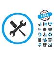 Tools Flat Icon with Bonus vector image
