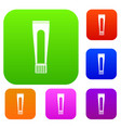 toothpaste tube set color collection vector image vector image