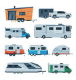travel trailers collection modern mobile homes vector image vector image