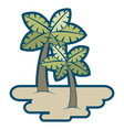 two palm trees on sand tropical plant vector image vector image
