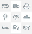 vehicle icons line style set with truck air vector image