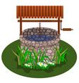 well for farm scene landscape design vector image vector image