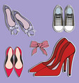womens shoes stickers decorative vector image