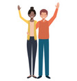 young couple with hands up avatar character vector image