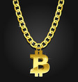 bitcoin iconical symbol on the golden chain vector image