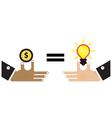 Businessman hand with creative light bulb vector image