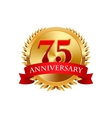 75 years anniversary golden label with ribbons