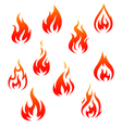 Set of fire flames isolated on white