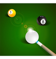 Billiard balls in a green pool table vector image