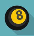Black snooker eight pool icon flat style