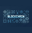 blockchain technology blue outline banner vector image vector image