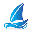 blue boat in the sea icon vector image vector image