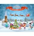 Children building snowman vector image vector image