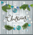 christmas greeting card with calligraphic logo vector image vector image