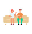 Couple sitting on couch and laughing cartoon style
