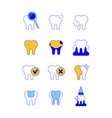dental diseases and treatment thin line icons vector image vector image