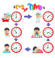 different routines at different times vector image