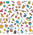 doodle children background seamless pattern vector image vector image