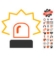 emergency siren icon with love bonus vector image