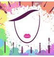 face of beautiful girl makeup artist logo vector image vector image
