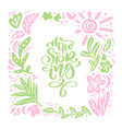 floral scandinavian frame for greeting card vector image vector image