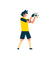football player goalkeeper catching ball isolated vector image