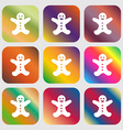 Gingerbread man icon sign Nine buttons with bright vector image vector image