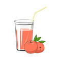 glass with peach juice vector image