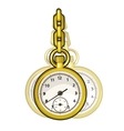 Gold vintage watch on a chain isolated vector image vector image