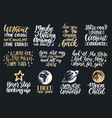 hand lettering with motivational phrases moon vector image