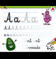 how to write letter a workbook for children vector image vector image