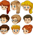 Human heads of male and female vector image vector image