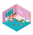 isometric nursery two girls are playing with big vector image