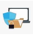 laptop computer system security design vector image vector image