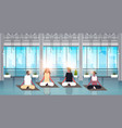 mix race people sitting lotus position doing sport vector image