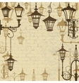 Old town background with wrought lanterns vector image vector image