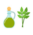 olive oil jug and bay leaf flat icon isolated vector image vector image