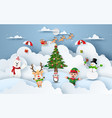 origami paper art christmas party at snow vector image