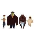 People dressed in monster zombie werewolf and vector image
