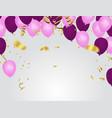 pink rose gold balloons and purple balloons vector image
