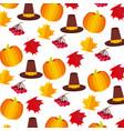 pumpkin hat cherries thanksgiving day pattern vector image vector image