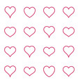 red heart icons thin line collection vector image