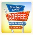Retro Neon Sign Breakfest Coffee