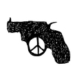 revolver with peace sign at the trigger vector image vector image