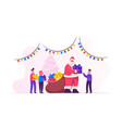 santa claus character giving gifts to happy vector image
