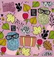 seamless pattern with hipster owl friends and vector image vector image